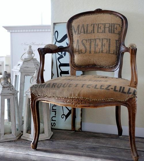 Sill n antiguo tapizado con telas modernas tendencia deco - Telas para tapizar un sillon ...