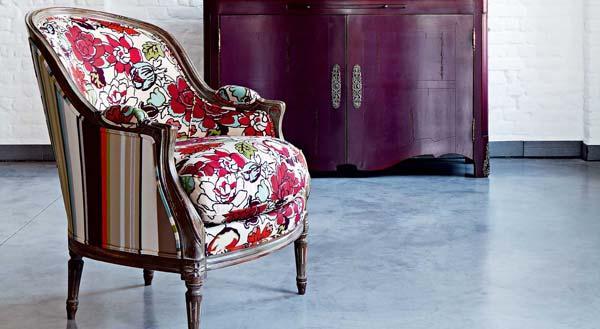 Sill n antiguo tapizado con telas modernas tendencia deco - Telas tapiceria sillas ...
