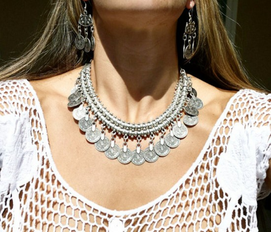 Bohemian-Goddess-Coin-Collar-Necklace-Silver-Chain-Child-Boho-Gypsy-font-b-Tribal-b-font-Ethnic