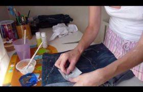 Cómo pintar jeans a mano con estenciles